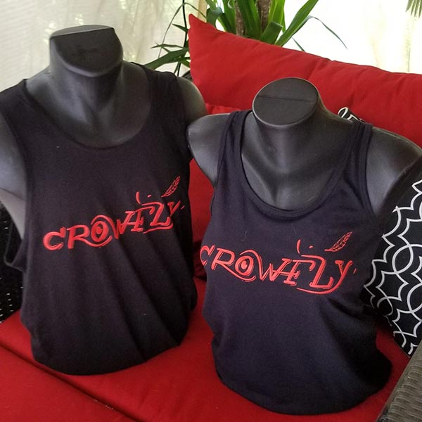 Crowfly Men's and Women's Black Tank Top with red Crowfly logo.