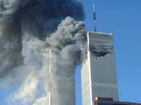 After the first airplane crash to the World Trade Center, New York, 11 Sept 2001 2