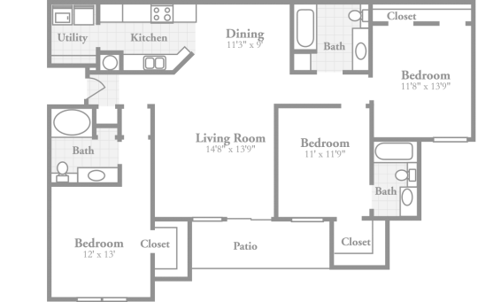 Crowne On 10th Apartments Birmingham Al Offers An Extra Ious Three Bedroom Floor Plan With Intimate Dining Room Large Inviting Living