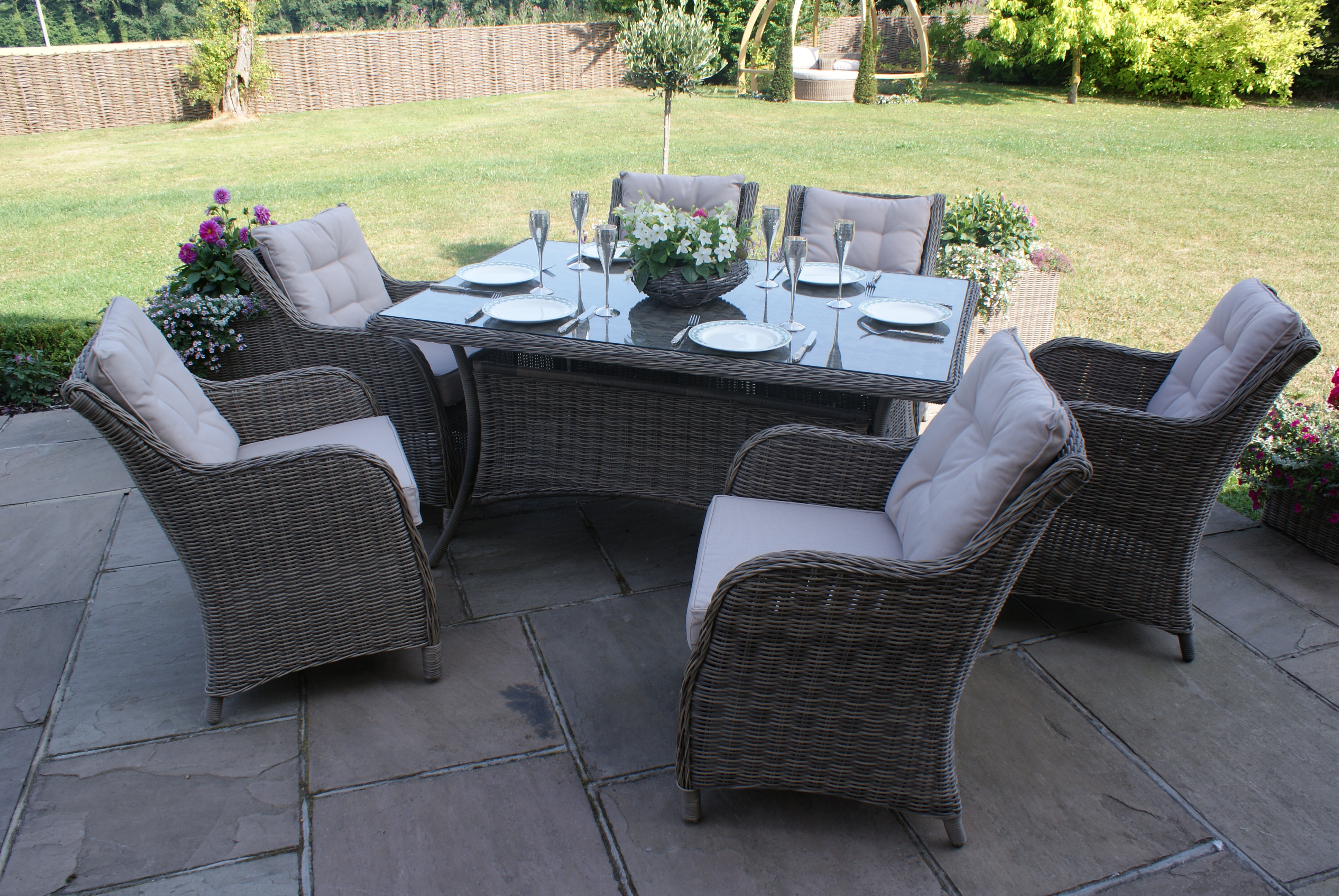Winchester 6 Seat Rectangular Dining Set With Square