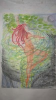 woman in the wind water colour original by Michelle $100