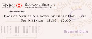 HSBC business crown of glory hair care edgware London hair cream essential oils grow hair hair loss