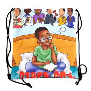 Black Boy Drawstring Backpack- Custom