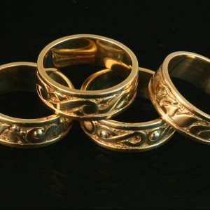 Four Elements Ring Wedding Band 14k Yellow Gold