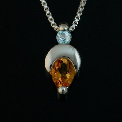 Crescent Moon sterling silver pendant - Citrine and Blue Topaz