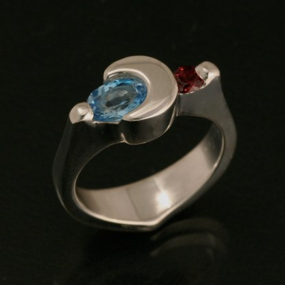 Crescent Moon Ring - Blue Topaz and Garnet