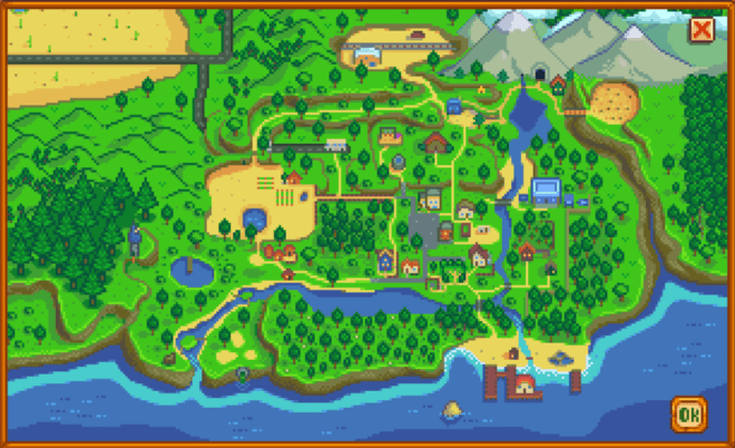Map of Stardew Valley