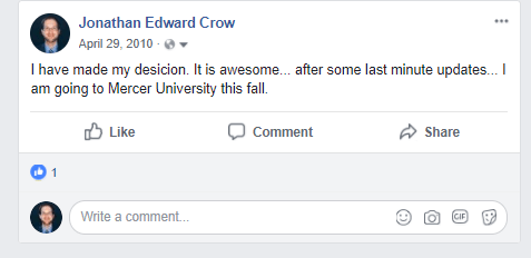 Mercer University Facebook Post
