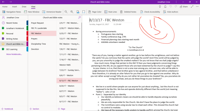 OneNote example notes personal management