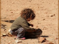 Small boy in desert