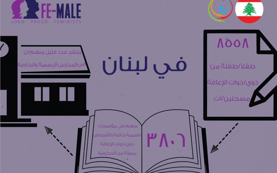أعداد الأشخاص ذوي الإعاقة الملتحقين بالمدارس في لبنان