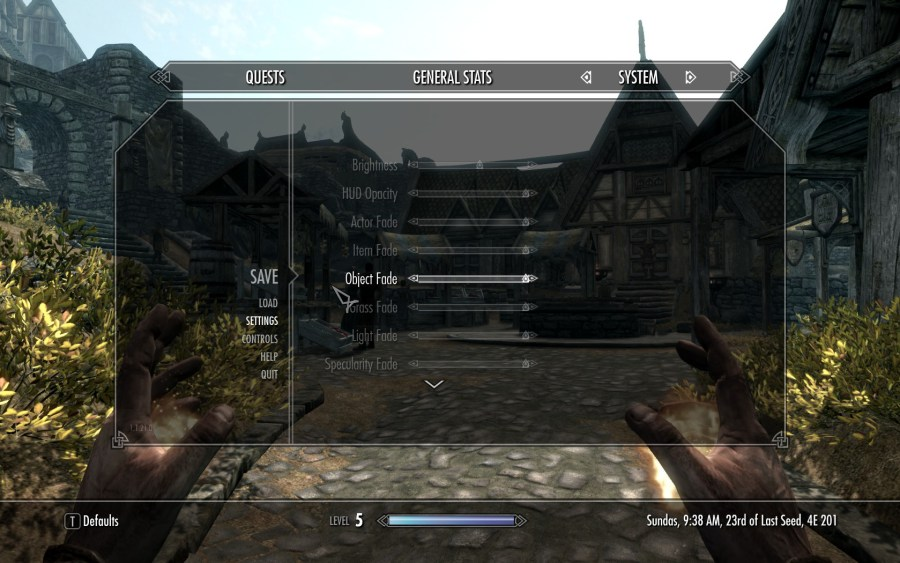 game settings in Skyrim