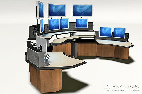 Custom consoles with multiple visual display screen monitors