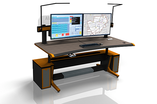 Evans strategy sit stand console for single operator