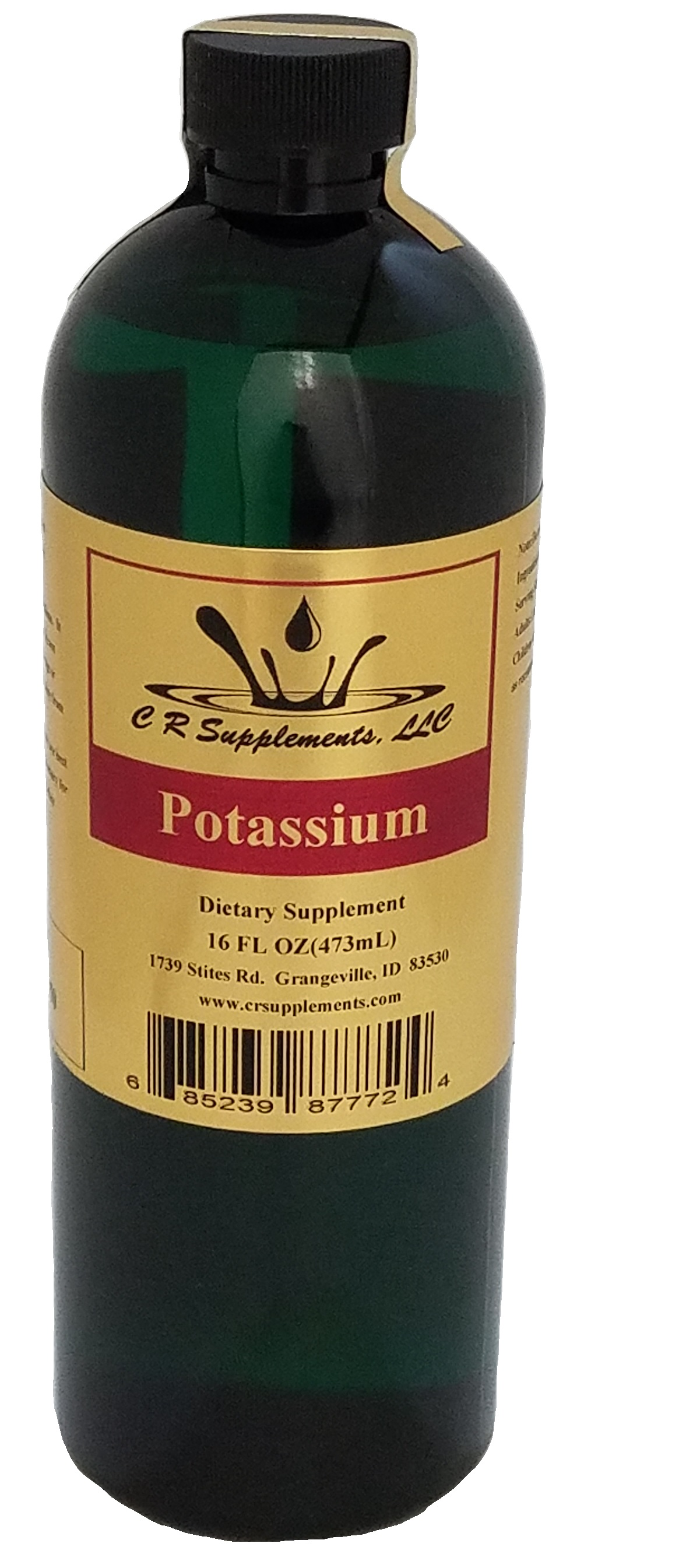 Potassium Dietary Supplement, Potassium, WaterOz Potassium Replacement, Liquid dietary supplement, Kosher of America approved, KOA approved, Pareve, vegan application, elemental mineral, flexible liquid mineral, maximum absorption
