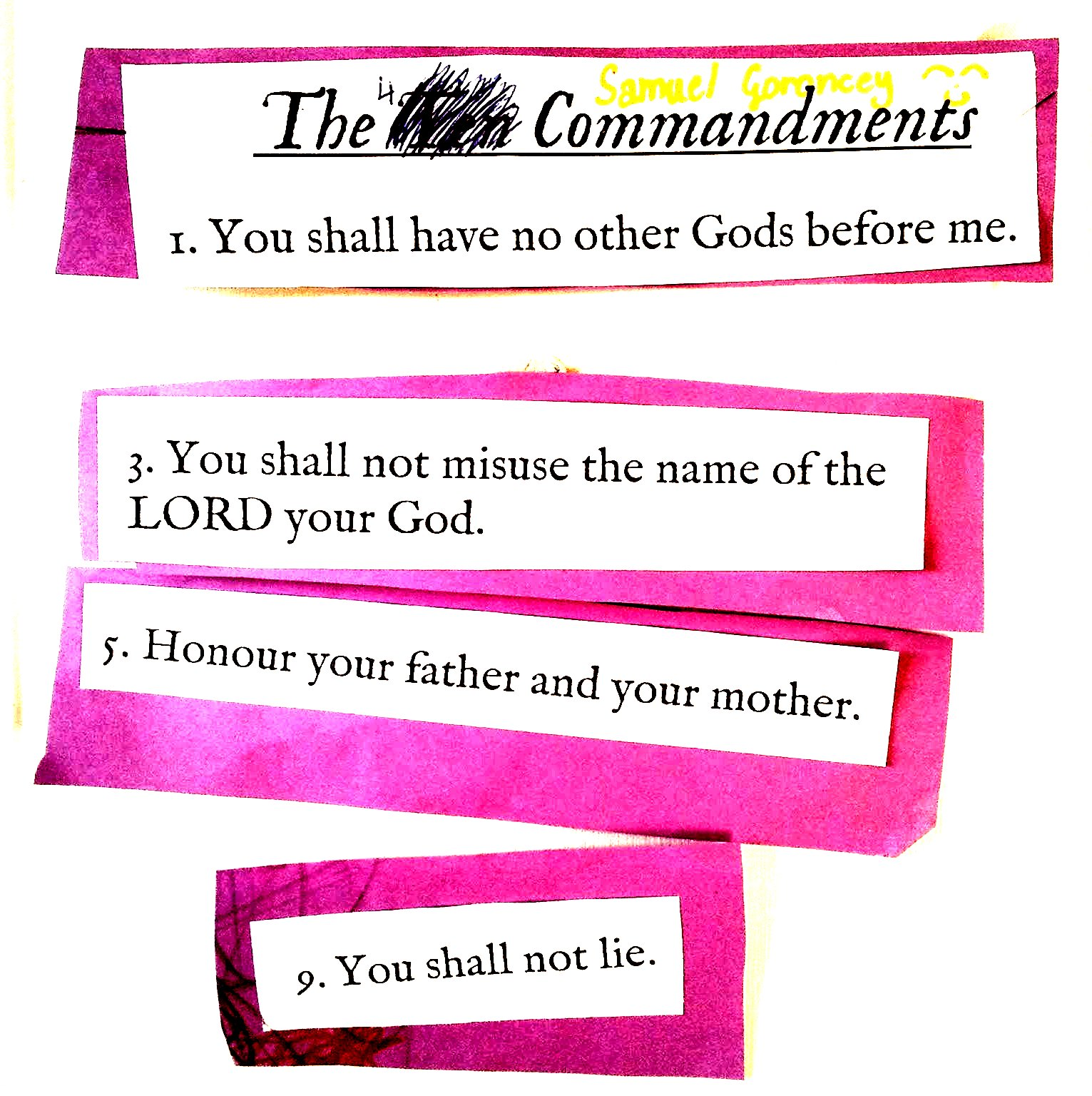 Gods 10 Commandments Worksheet