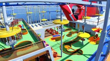 SkyRide, the cruise industry's first pedal-powered open-air aerial attraction,