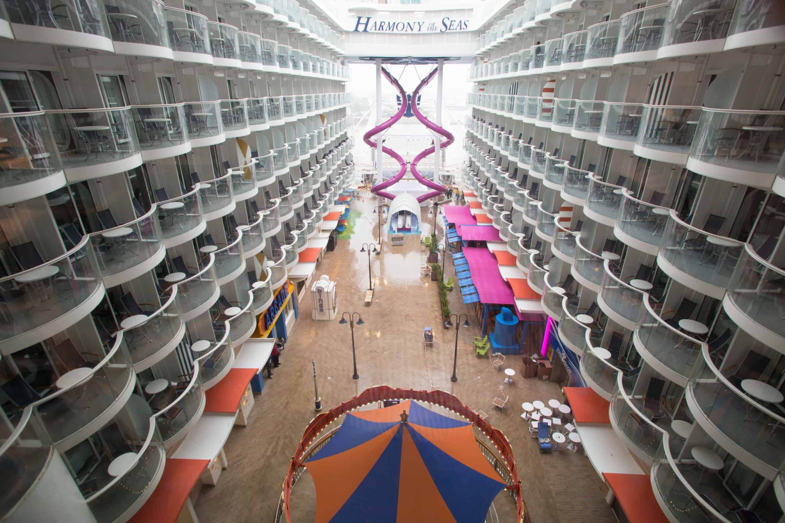 Royal Caribbean International's Harmony of the Seas, the world's largest and newest cruise ship, previews in Southampton, UK. General views of the ship. Board Walk