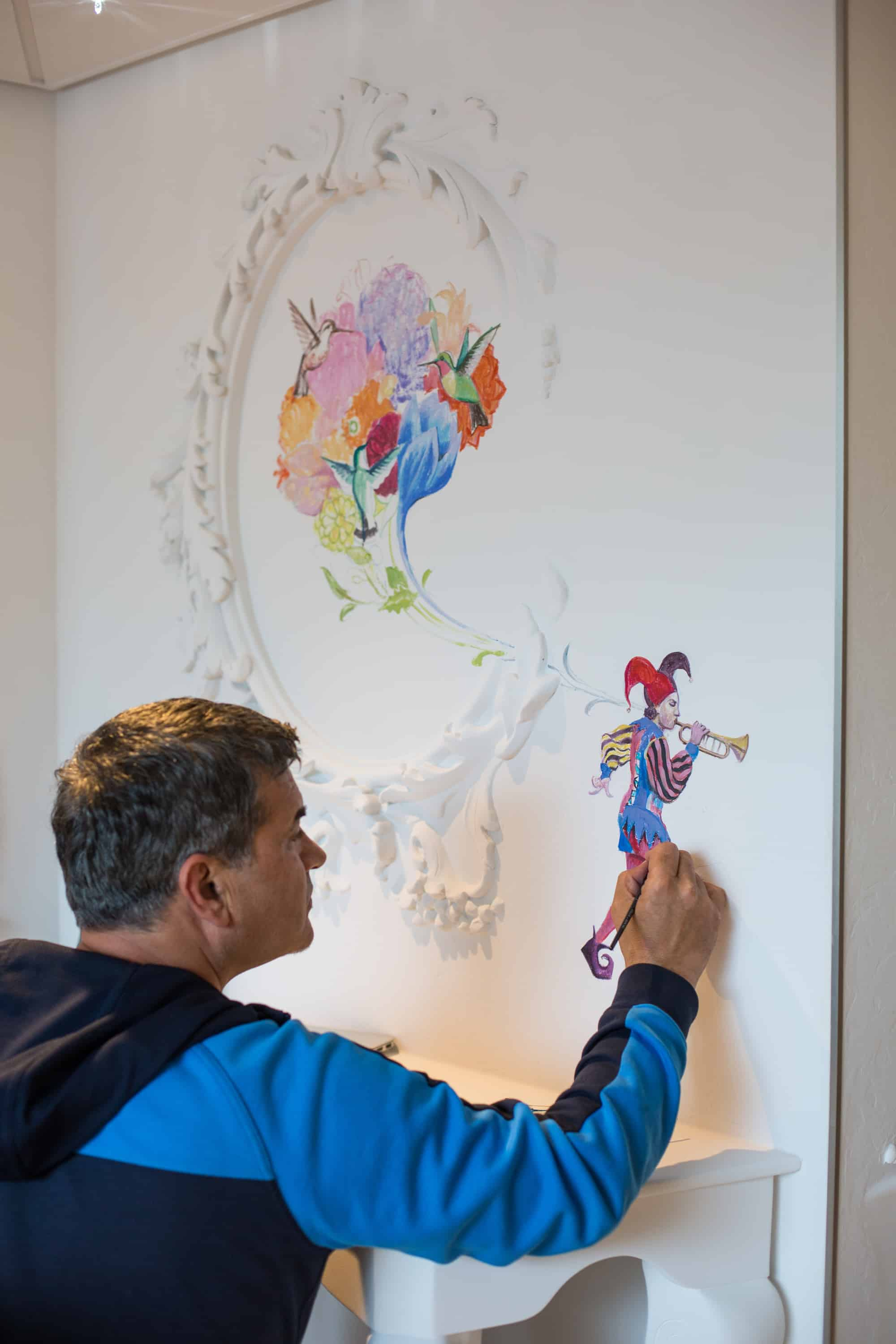 """Royal Caribbean International's Harmony of the Seas, the world""""s largest and newest cruise ship, previews in Southampton. Wonderland artist"""