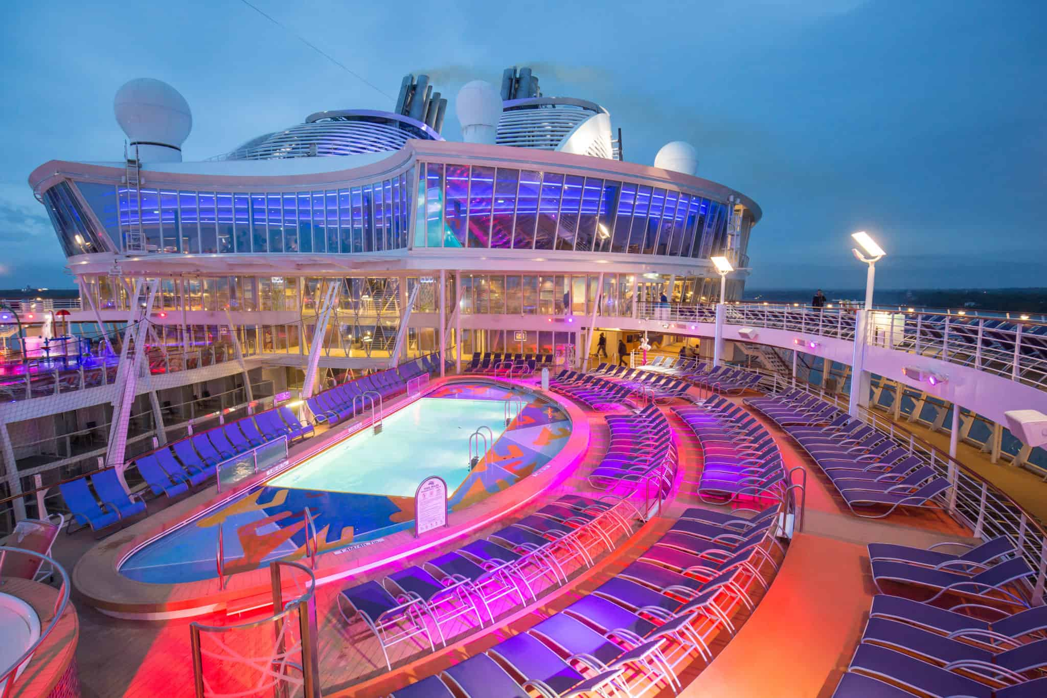 """Royal Caribbean International's Harmony of the Seas, the world""""s largest and newest cruise ship, previews in Southampton. Pool Deck"""
