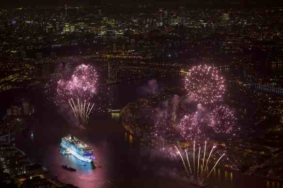 Viking Cruises christened its second of six planned ocean ships in Greenwich, London this evening with fireworks depicting the colours of the two main runners in the Mayoral elections.