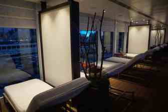 The Lanai at night aboard Viking Star