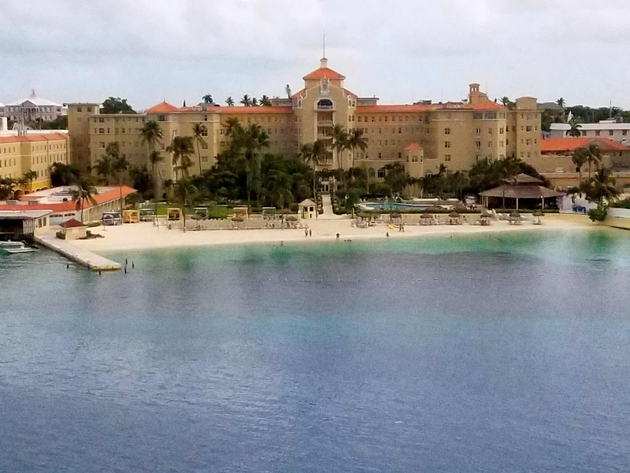 Looking at the British Colonial Hilton from our Balcony Cabin