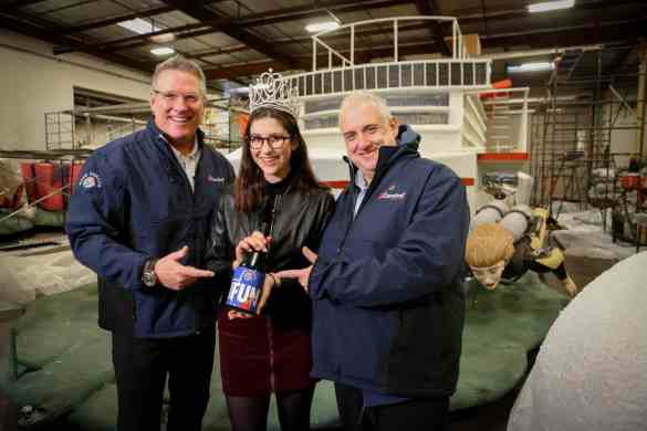 """Carnival hosts the naming ceremony of their new ship, the Carnival Panorama, as their entry  float entitled """"Come Sail Away"""" float in the Pasadena Tournament of Roses, is assembled at Fiesta Floats in Irwindale on December 28, 2018  Nancy Newman Photography (714) 317-1518"""