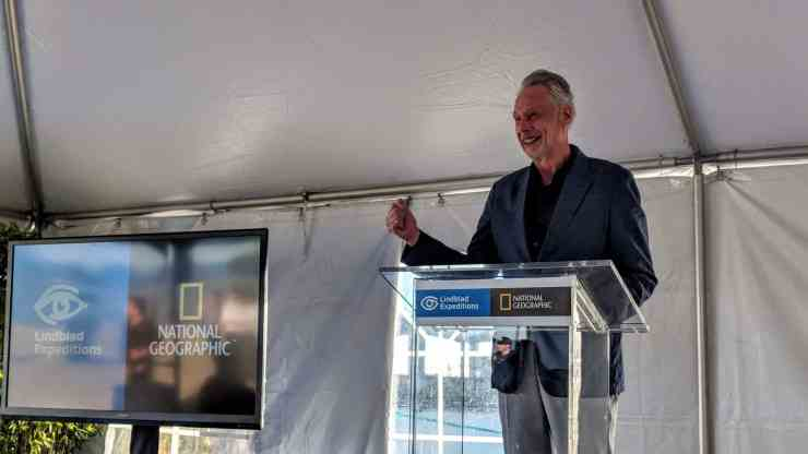 Lindblad Expeditions founder and CEO Sven-Olof Lindblad speaks during the christening ceremony for National Geographic Venture.