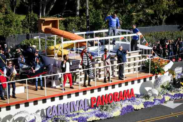 "January 1, 2019, Pasadena, CA. Carnival Cruise Line participates in their first Tournament of Roses Parade, with the their entry named ""Come Sail Away"" and debuting their newest  ship the Carnival Panorama, which showcased floral scuba divers, and as well acrobatics on their trampoline.    Photos by Nancy Newman Photography for Carnival Cruise Line (714) 317-1518"