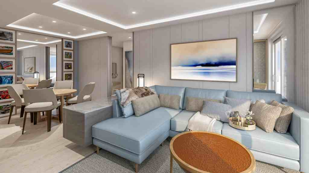 Rendering of Explorer Suite Living Room on-board the Viking Expedition ships