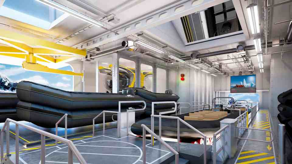 Rendering of Zodiacs and Sub stored within the Hangar on-board the Viking Expedition ships Polaris and Octantis (Credit: Viking)