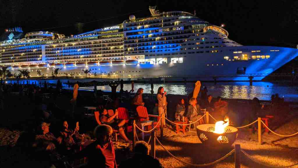 MSC ships stay late into the night at Ocean Cay