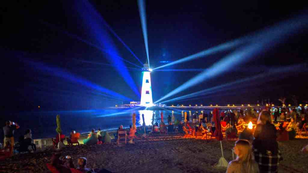 Lighthouse light show at the Ocean Cay Marine