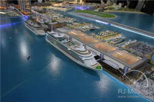 dubai harbour cruise terminal is designed to accommodate three cruise ships simultaneously.