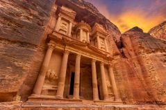the facade of the iconic treasury in the ancient city of petra