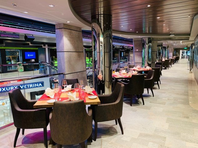 galleria-view dining at butcher's cut aboard msc bellissima