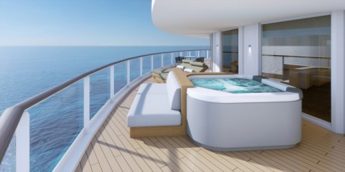 aboard norwegian prima, some haven suites will feature a hot tub on the balcony