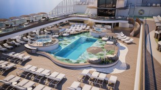 the pool deck aboard oceania's new ship vista