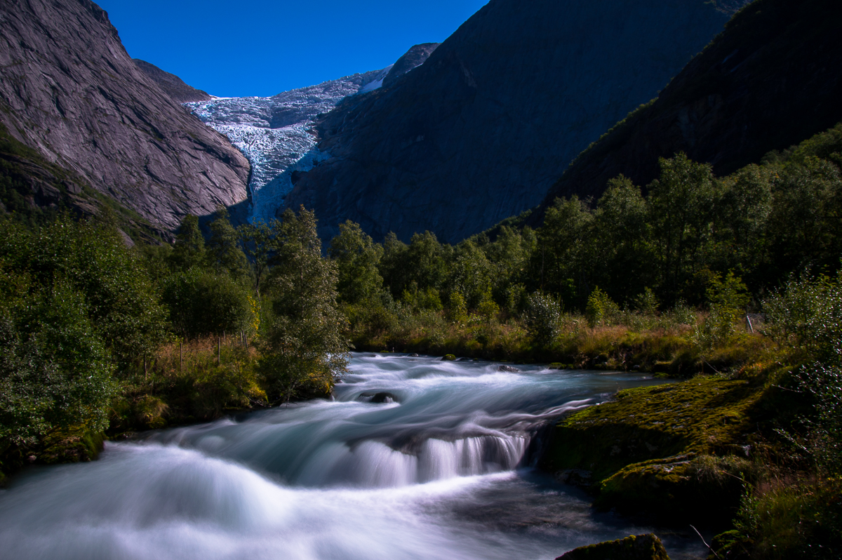 The river of the Briksdal Glacier