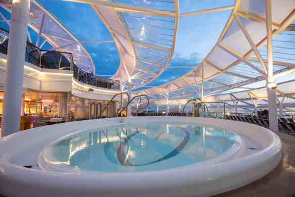 """Royal Caribbean International's Harmony of the Seas, the world""""s largest and newest cruise ship, previews in Southampton.  Solarium"""