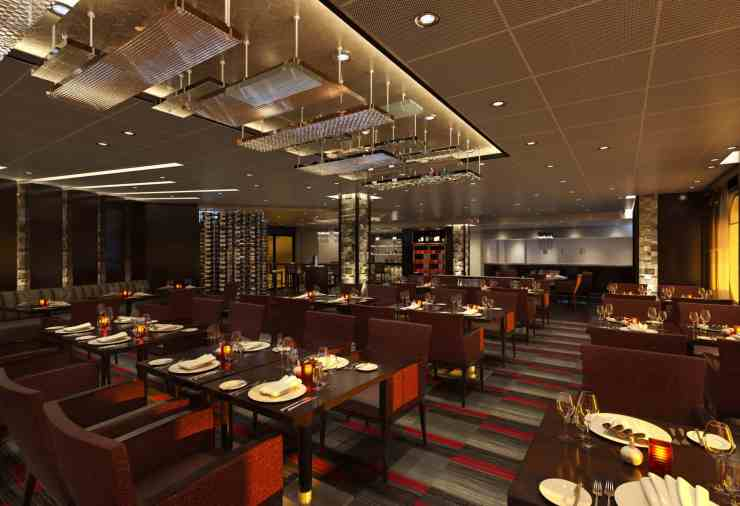 Rendering of Fahrenheit 555 Steakhouse aboard the Carnival Sunrise.