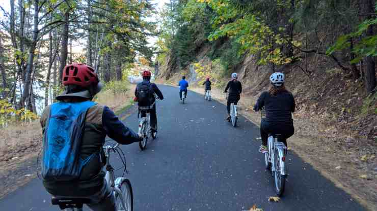 Biking on the Columbia River Highway State Trail.