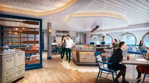 Foodies on board Navigator of the Seas, who are angling for fresh seafood and ocean views in a casual setting, will find New England-inspired dishes – from lobster and crab claws, to local fish and just-shucked oysters – at Hooked Seafood.