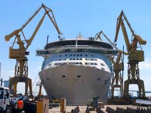 Royal Caribbean Cruise Ship Enters Dry Dock for Monster Renovation