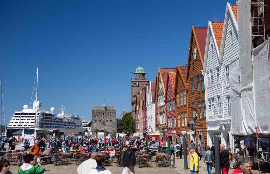 Havnefront i Bergen, Norge