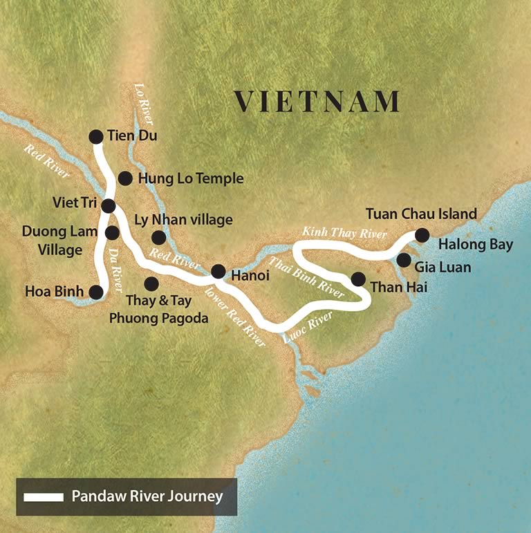 Kort over Pandaw River Journey