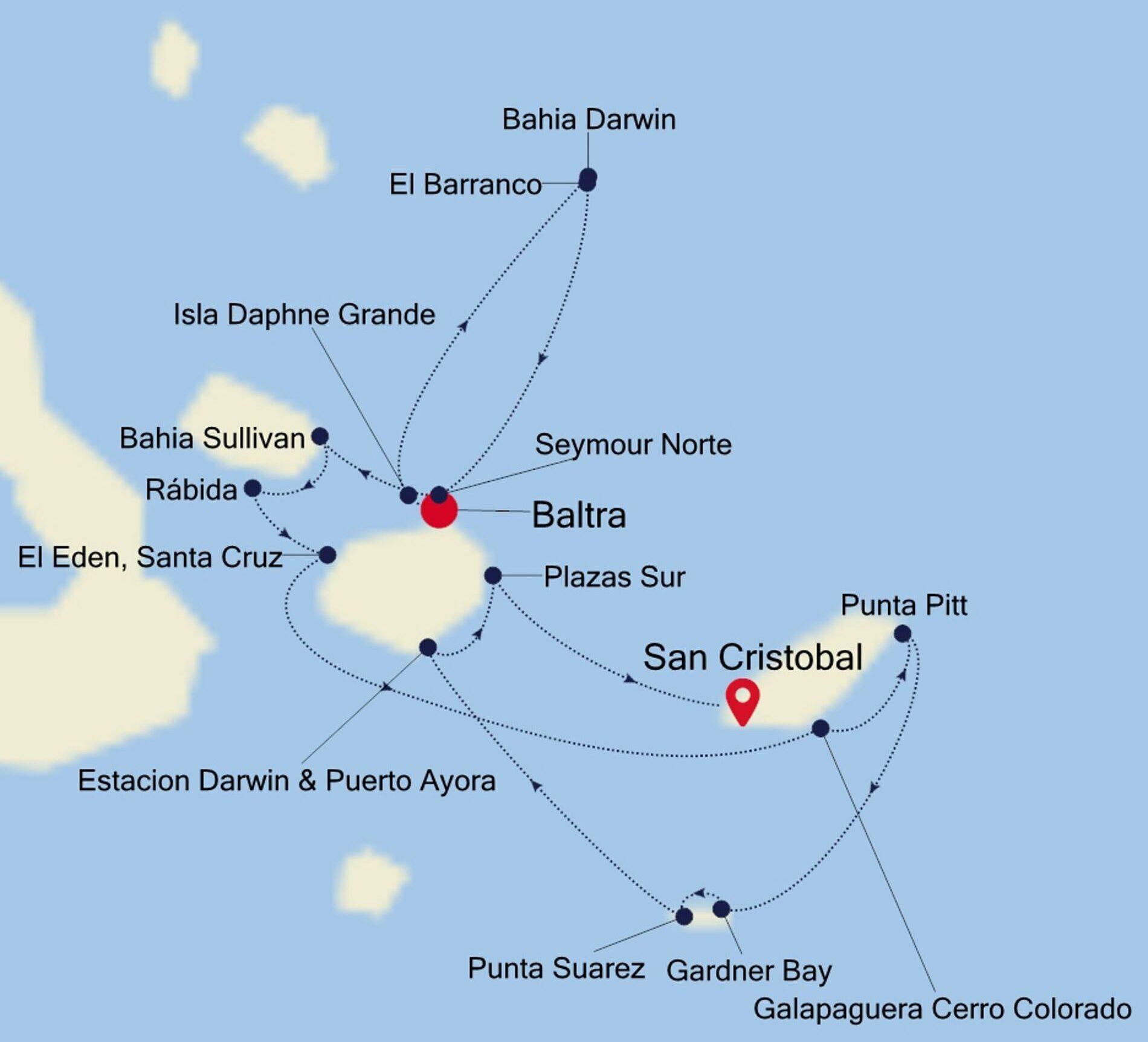 Sejlrutekort Galapagos Øerne med Silversea Expeditions