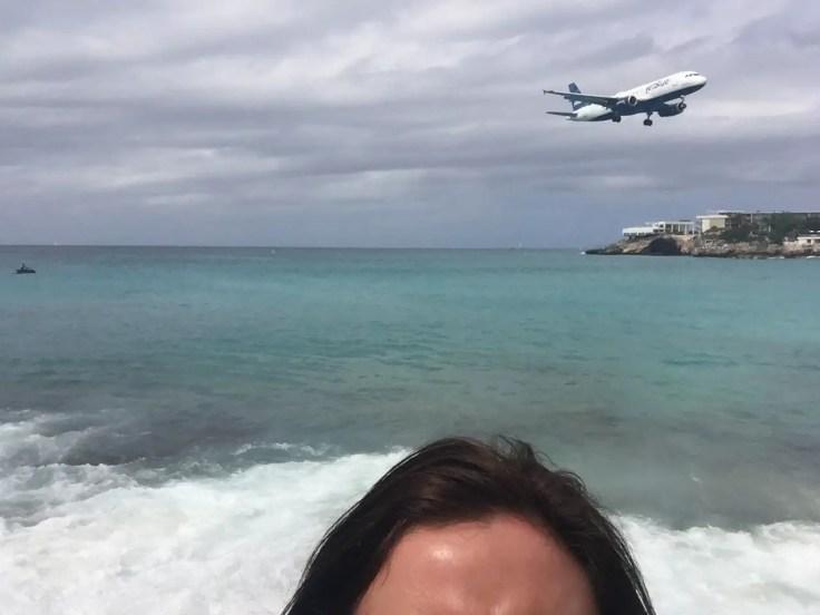 Aeroplane selfie at Maho Beach