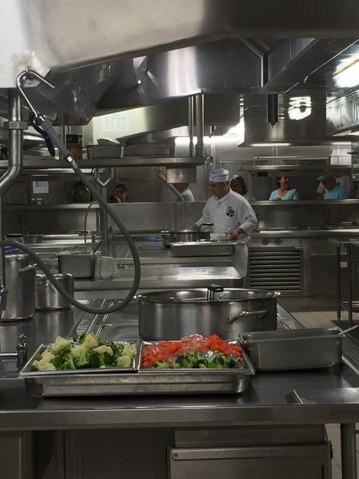 A view of the galley for one of the main dining rooms on the Regal Princess
